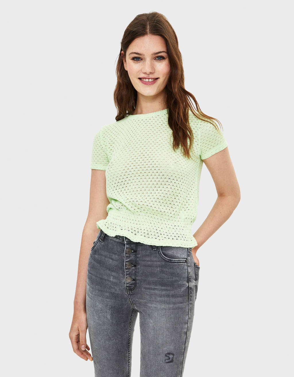 Open knit top with short sleeves