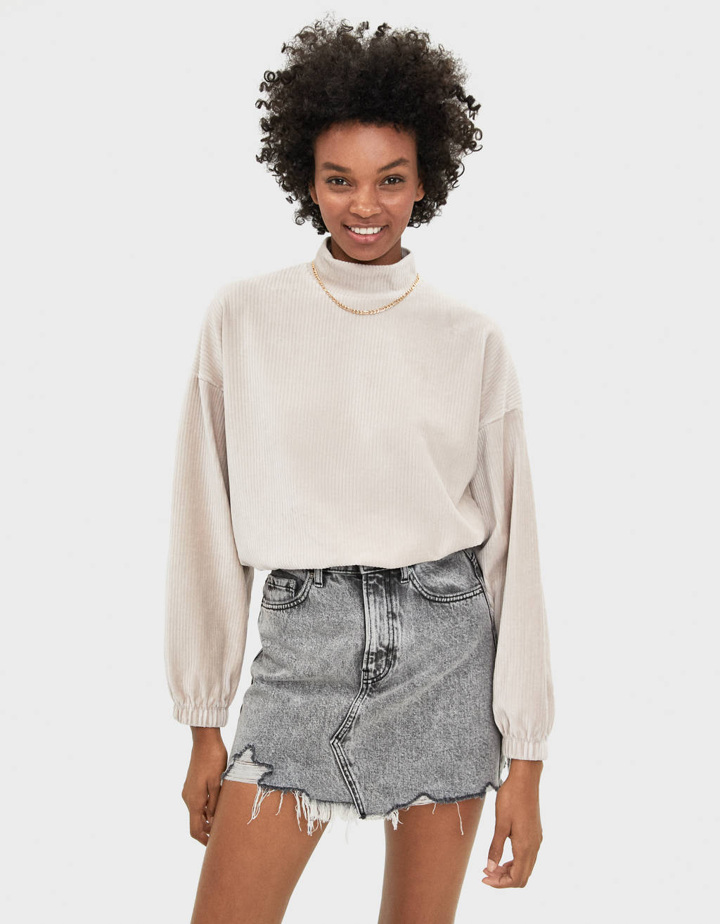 Corduroy sweater with puff sleeves