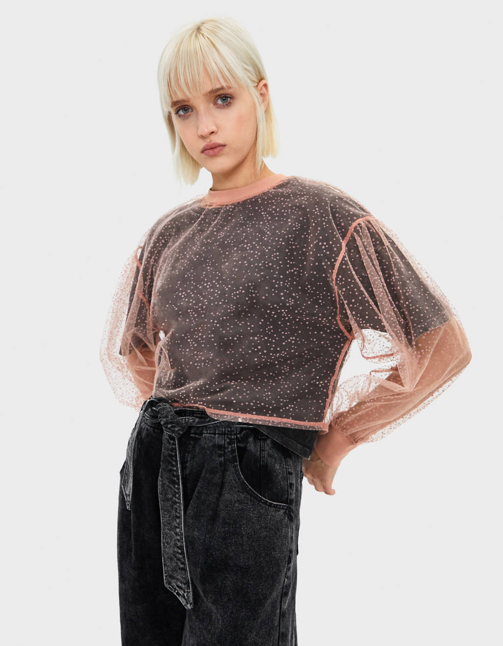 Plumetis sweater with ribbed detail