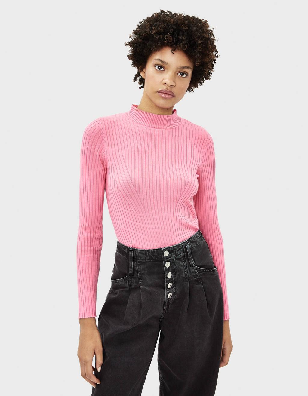 Pullover mit geripptem Stehkragen