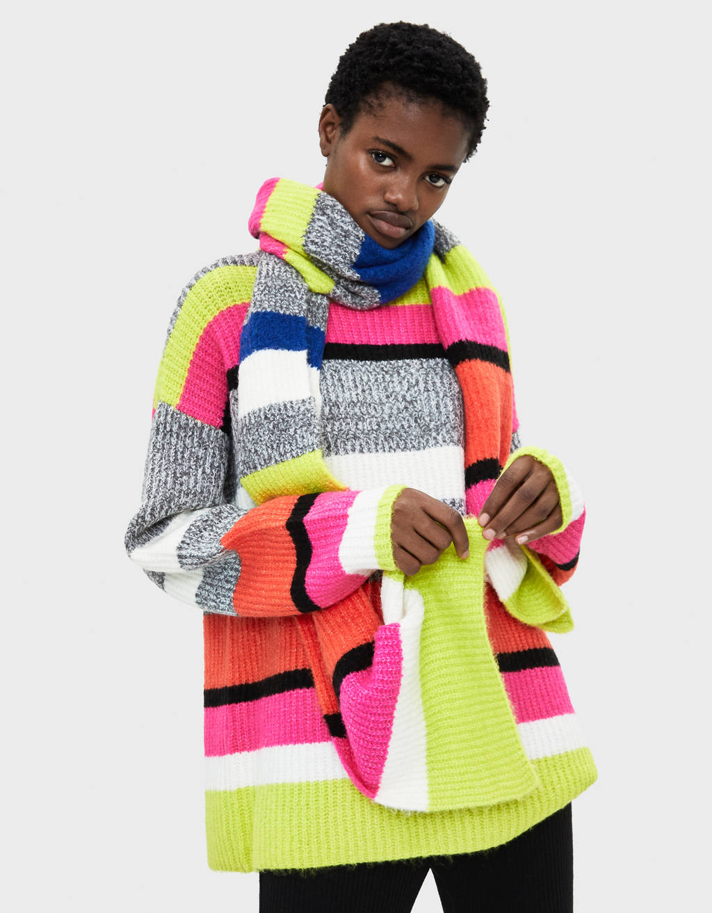Multicoloured sweater with scarf