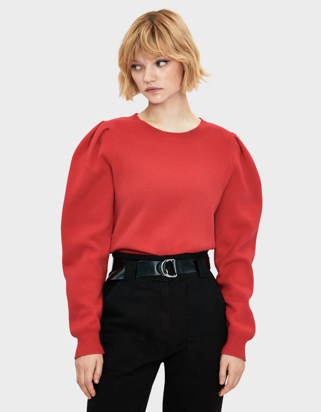 Sweater with puffy sleeves