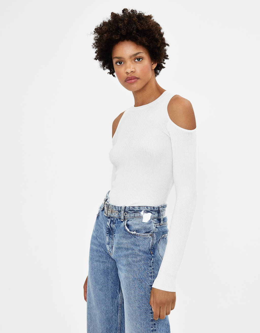 Open shoulder sweater