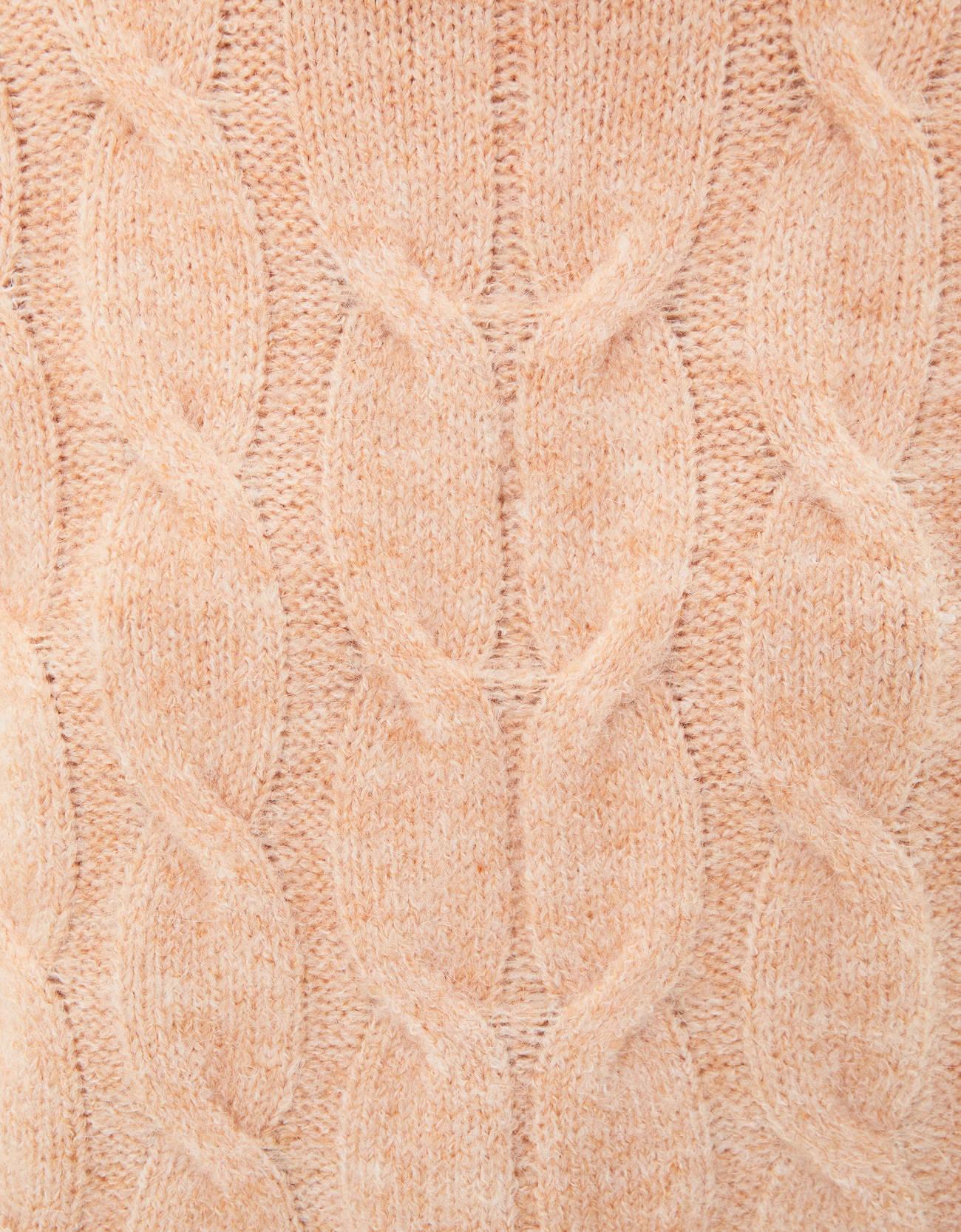 Свитер с узором «косы» и высоким горлом Оранжевый Bershka