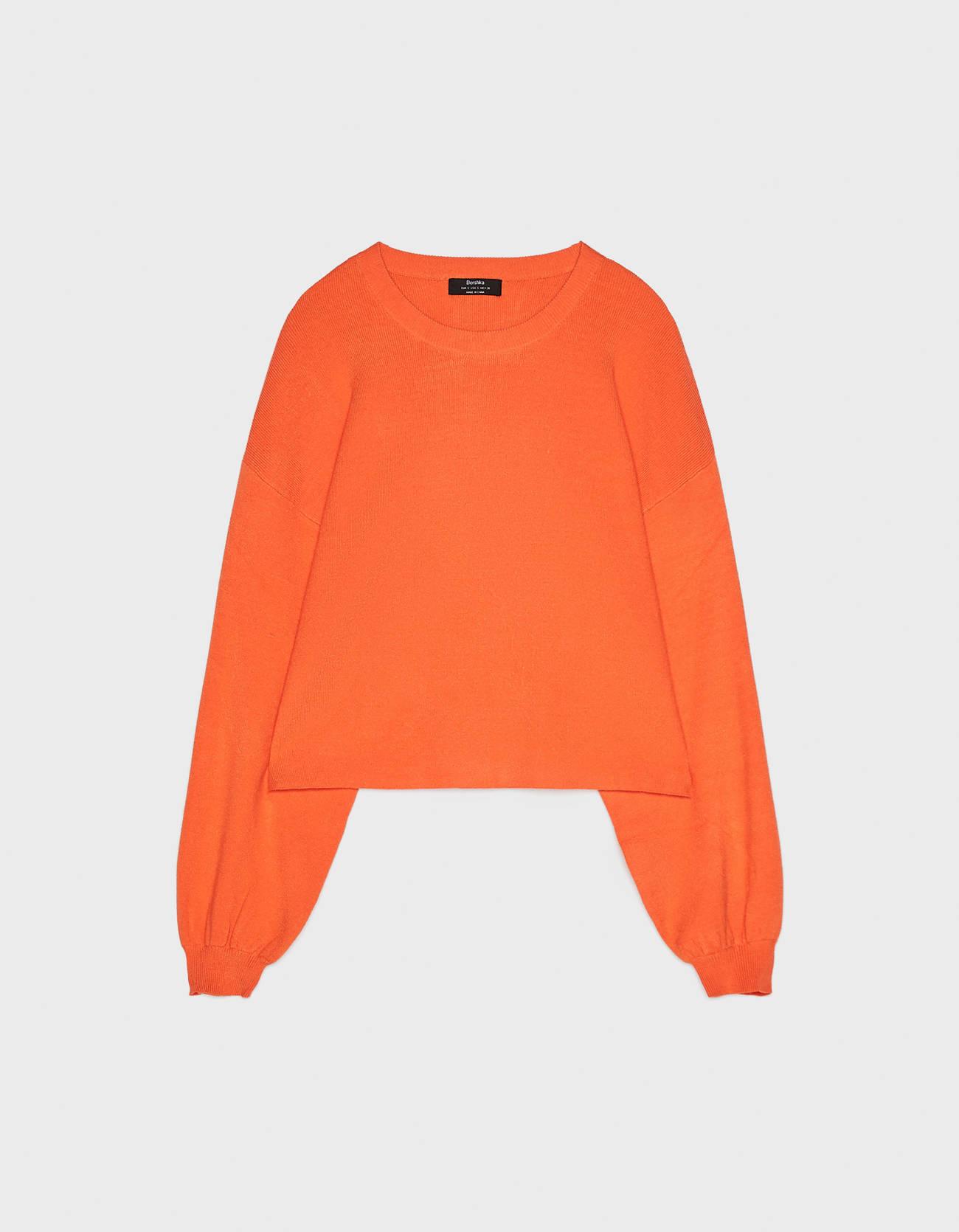 Укороченный свитер с круглым вырезом Оранжевый Bershka
