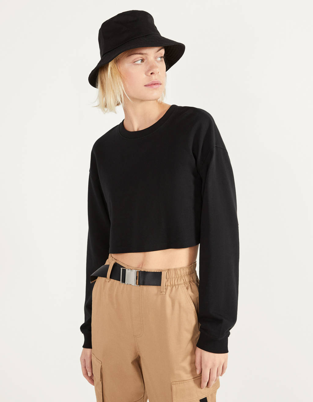 Cropped plush sweater