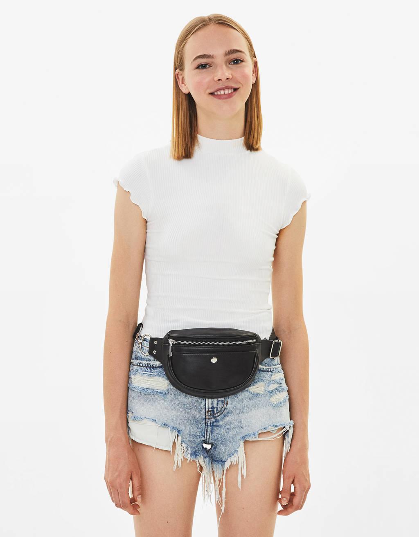 Shirt mit geripptem Stehkragen
