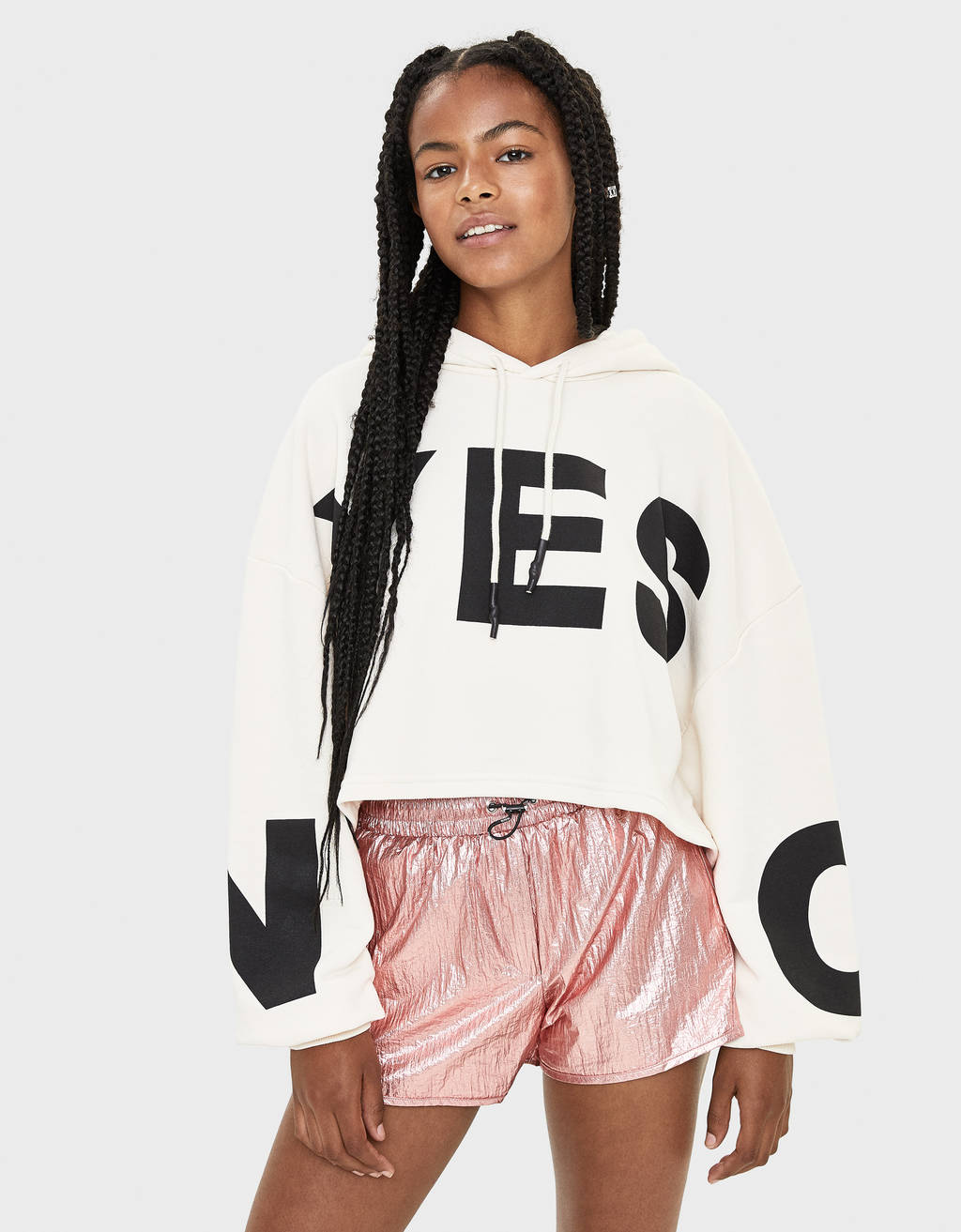 Cropped hoodie with print