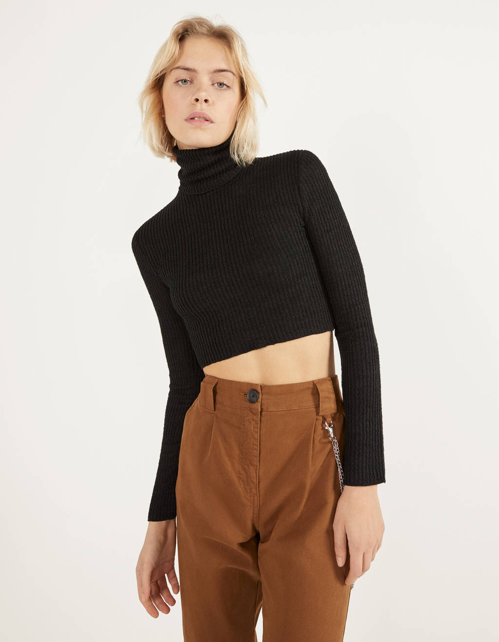 Cropped sweater with turtleneck