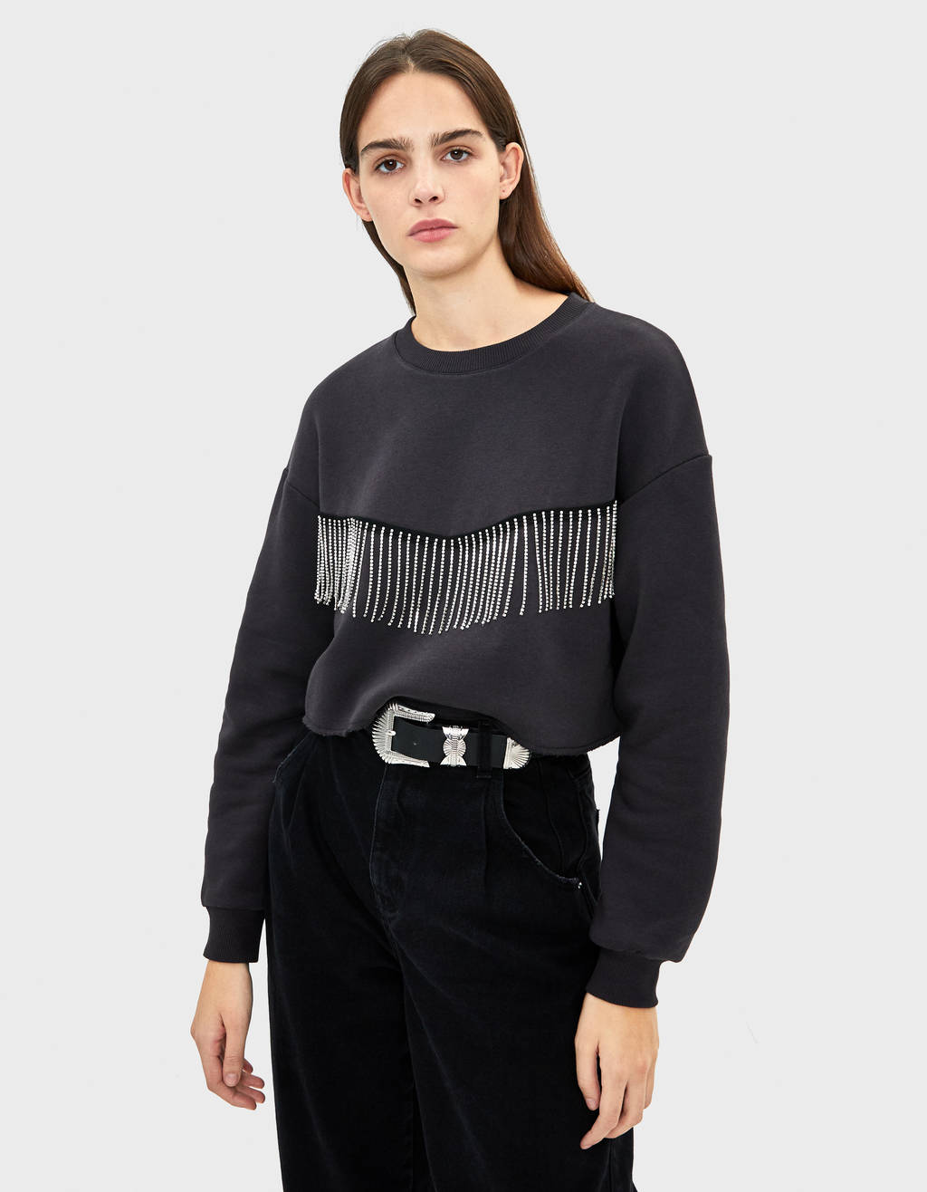 Cropped sweatshirt with bejewelled fringe