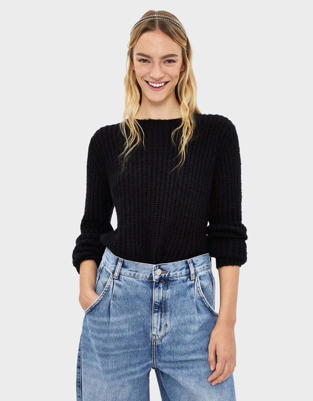 Ribbed flecked sweater