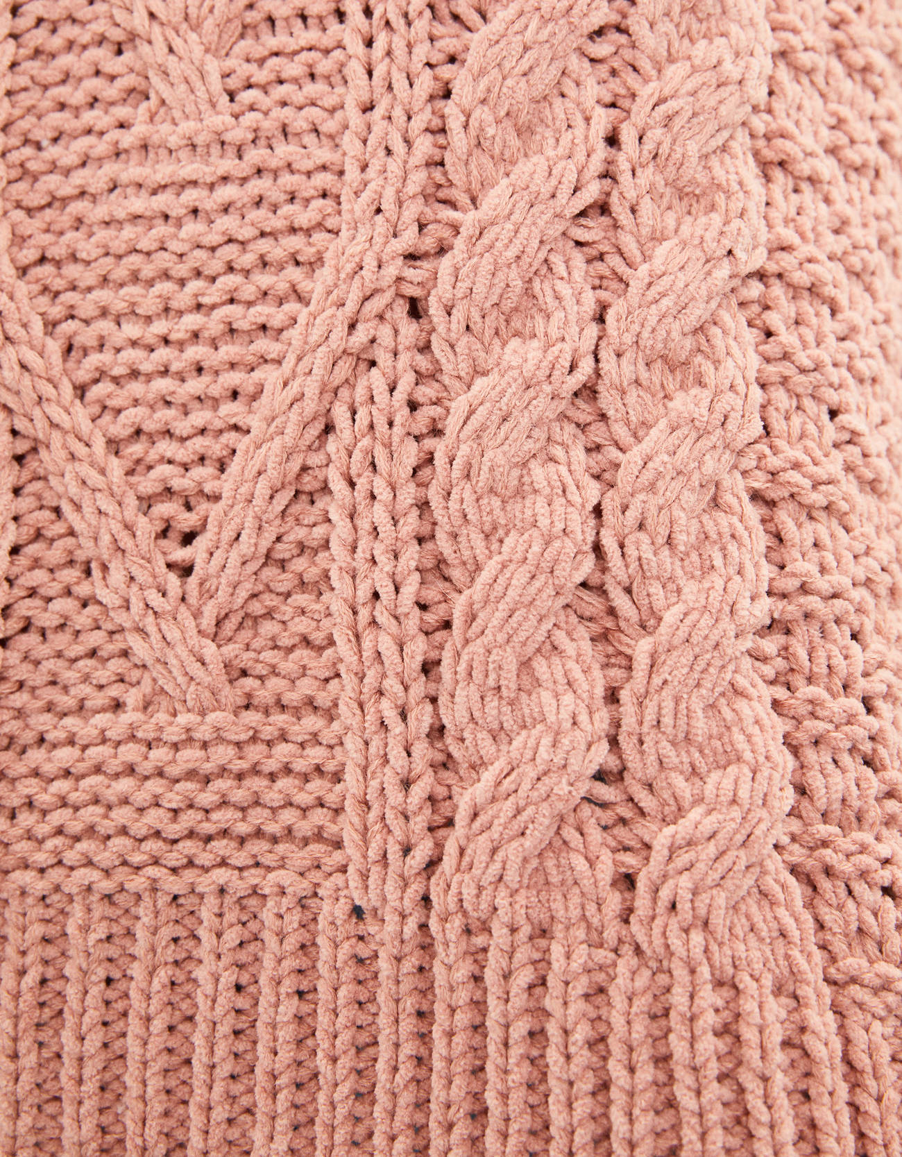 Свитер с узором «Косы» Розовый Bershka