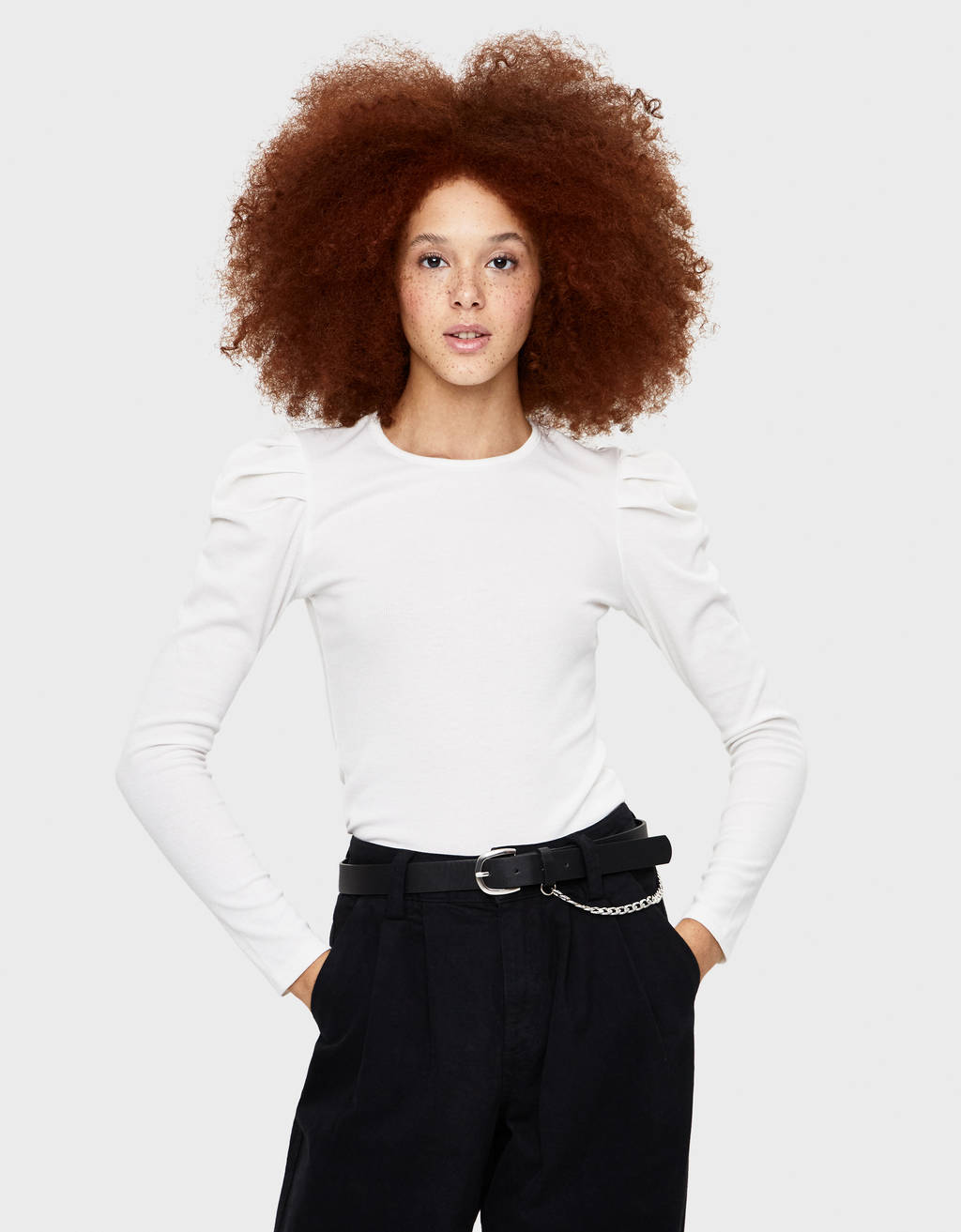 Puff sleeve long sleeve T-shirt