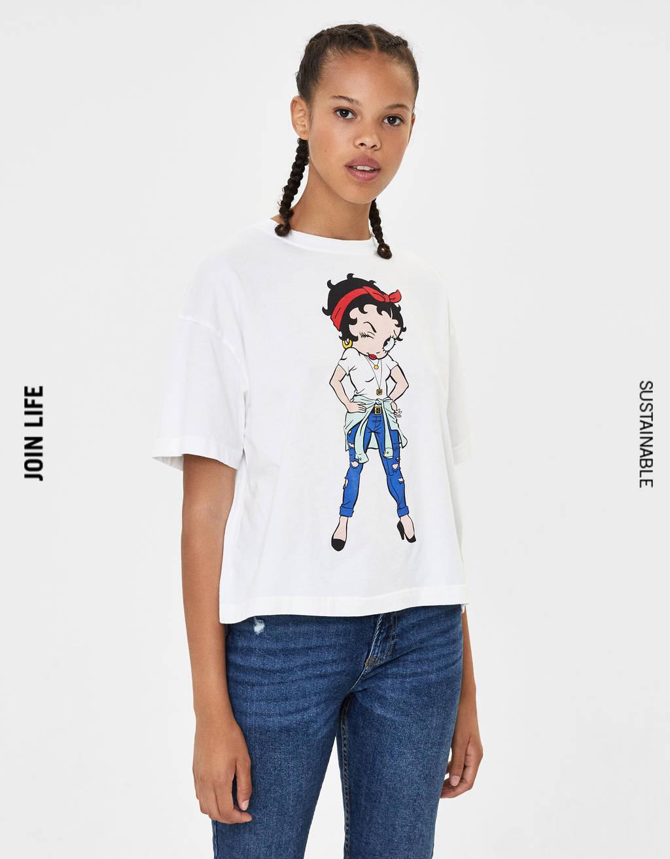 Póló Betty Boop-grafikával