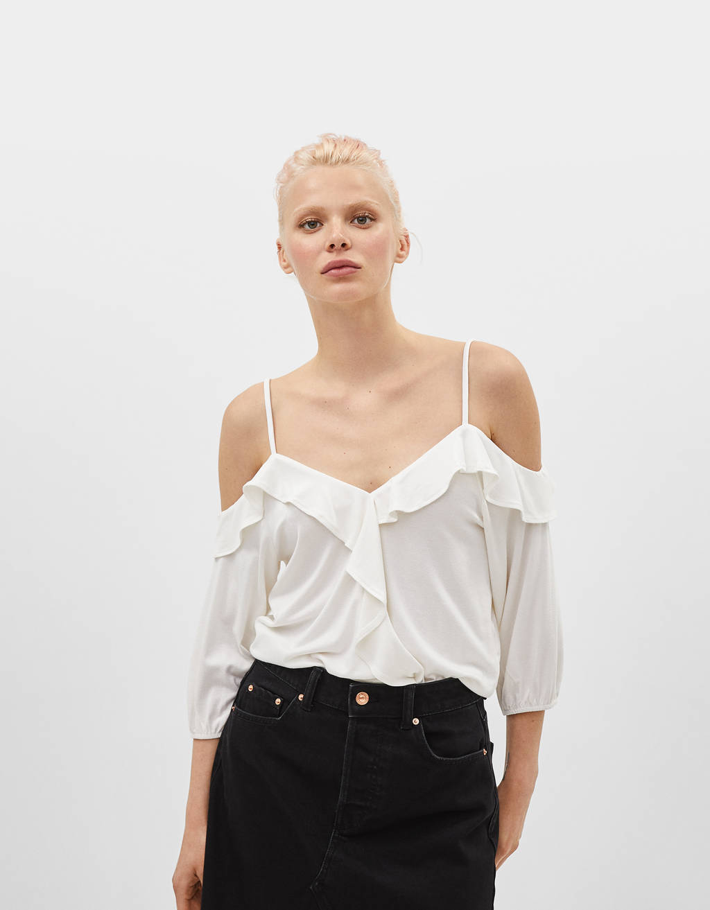 Off-the-shoulder blouse with ruffle trims