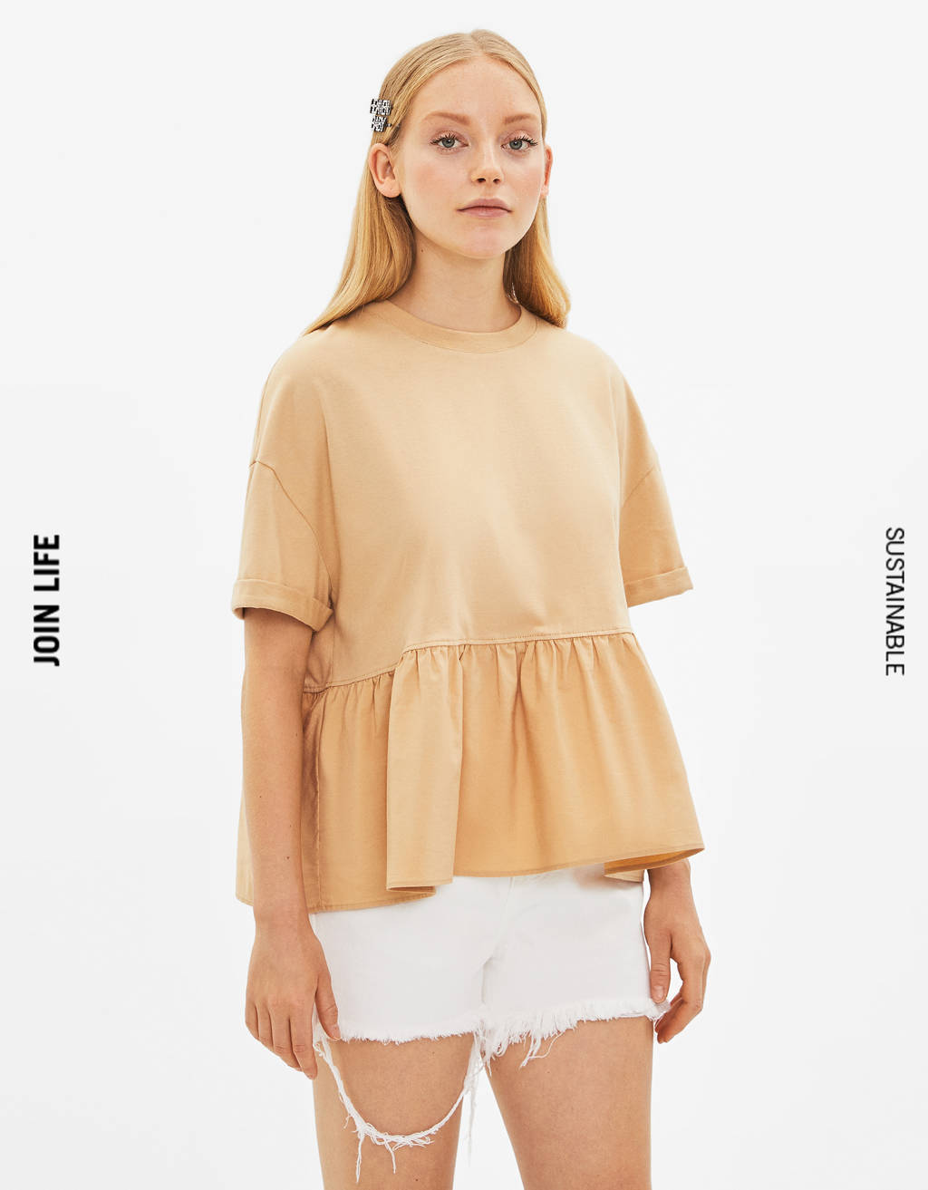 T-shirt with ruffled hem