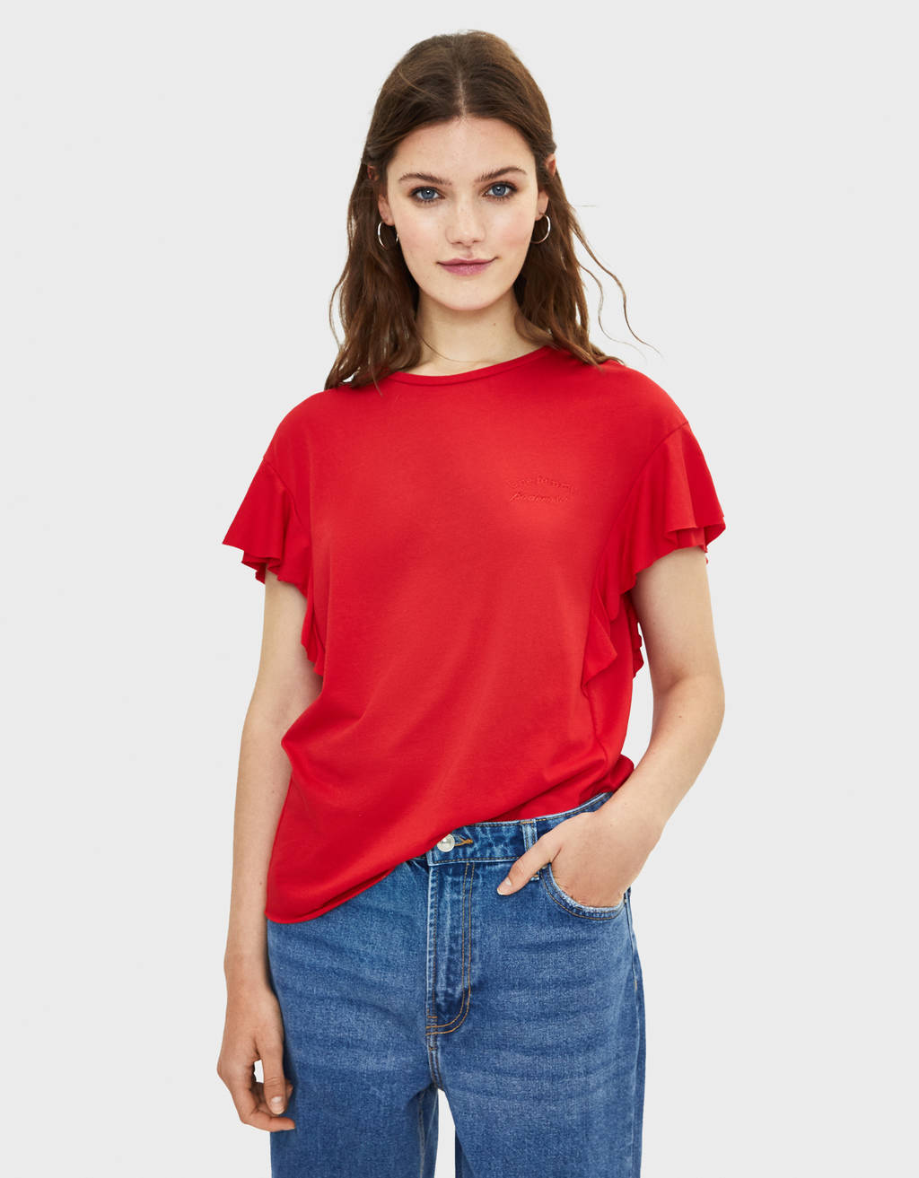 T-shirt with ruffled sleeves