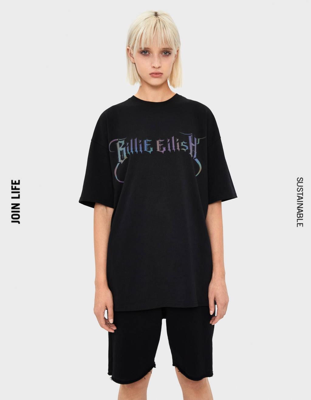 Billie Eilish x Bershka t-shirt med reflex