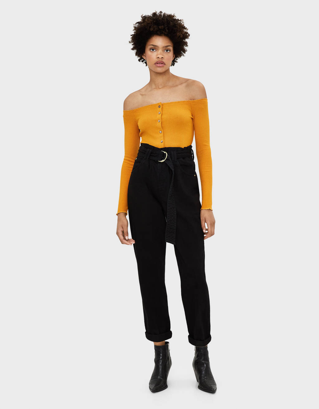 Tie front off-the-shoulder top