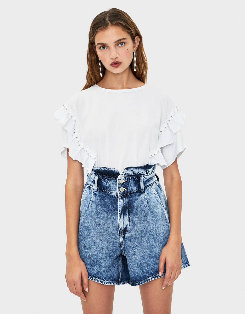 T-shirt with ruffles and studs