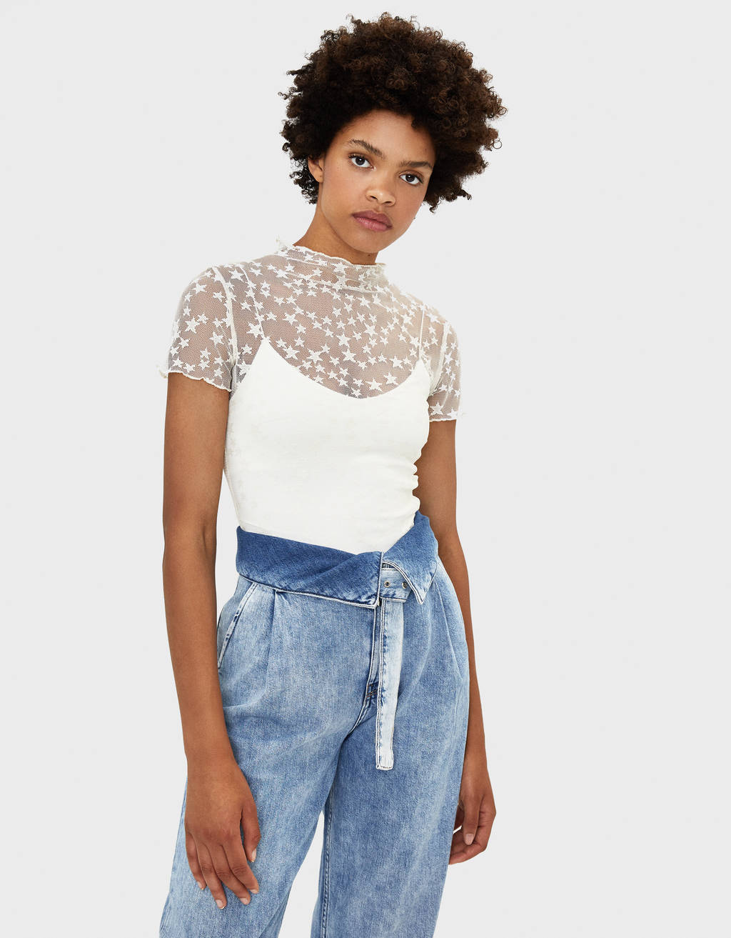 Dotted mesh T-shirt