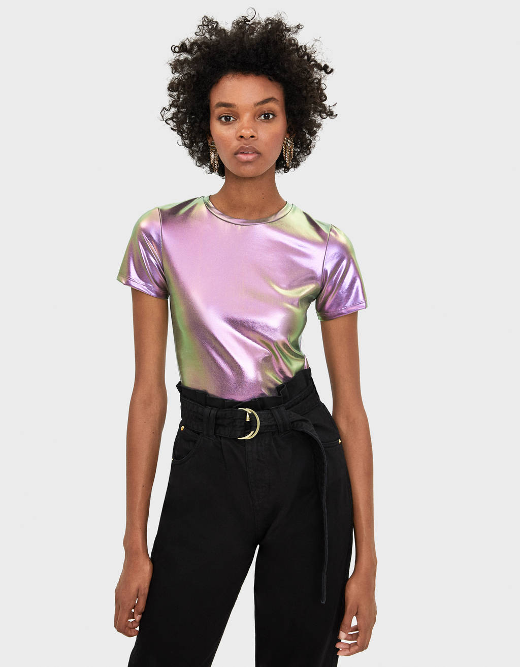 Cropped metallic T-shirt