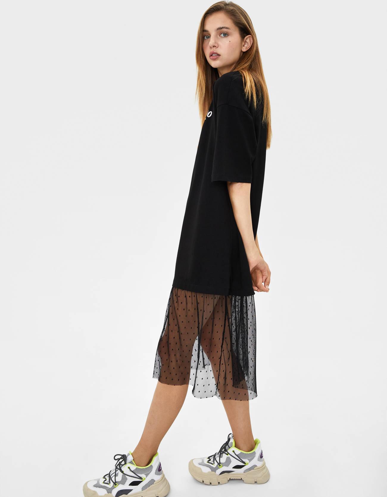 Платье с отделкой из прозрачной ткани по низу Черный Bershka