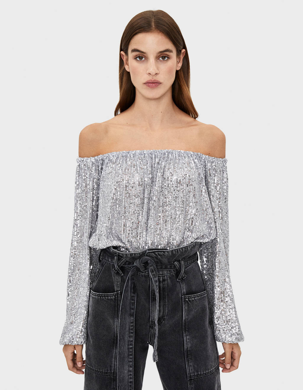 Sequinned off-the-shoulder top