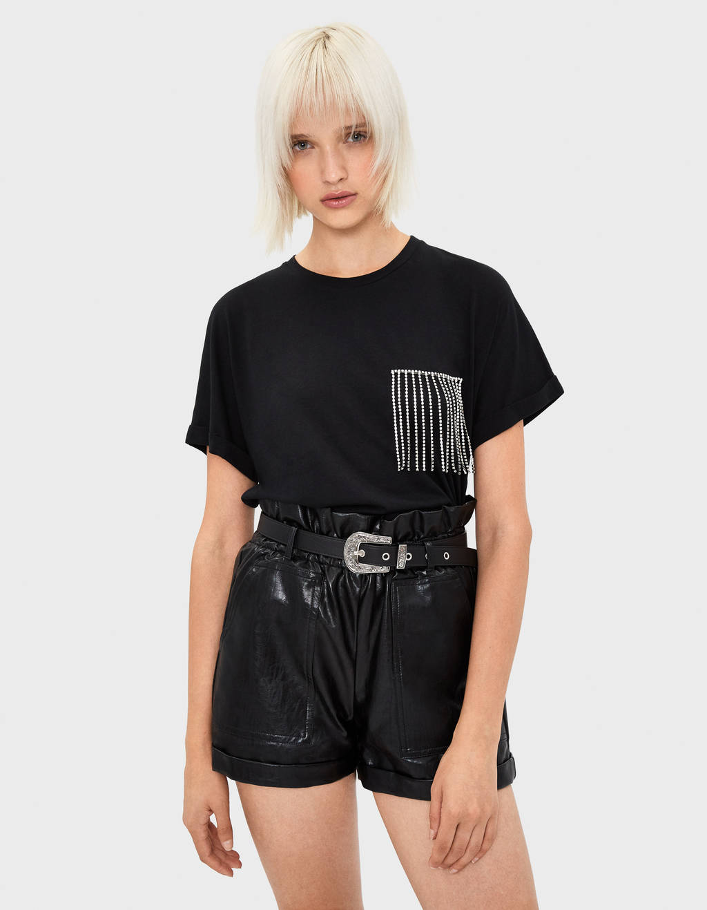 T-shirt with rhinestone-fringed pocket