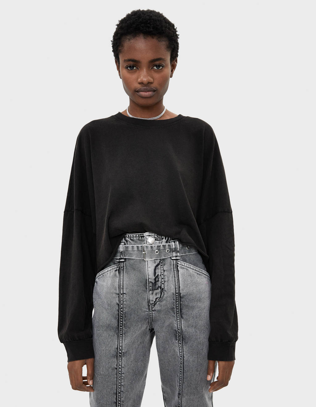 Puff sleeve cropped sweater