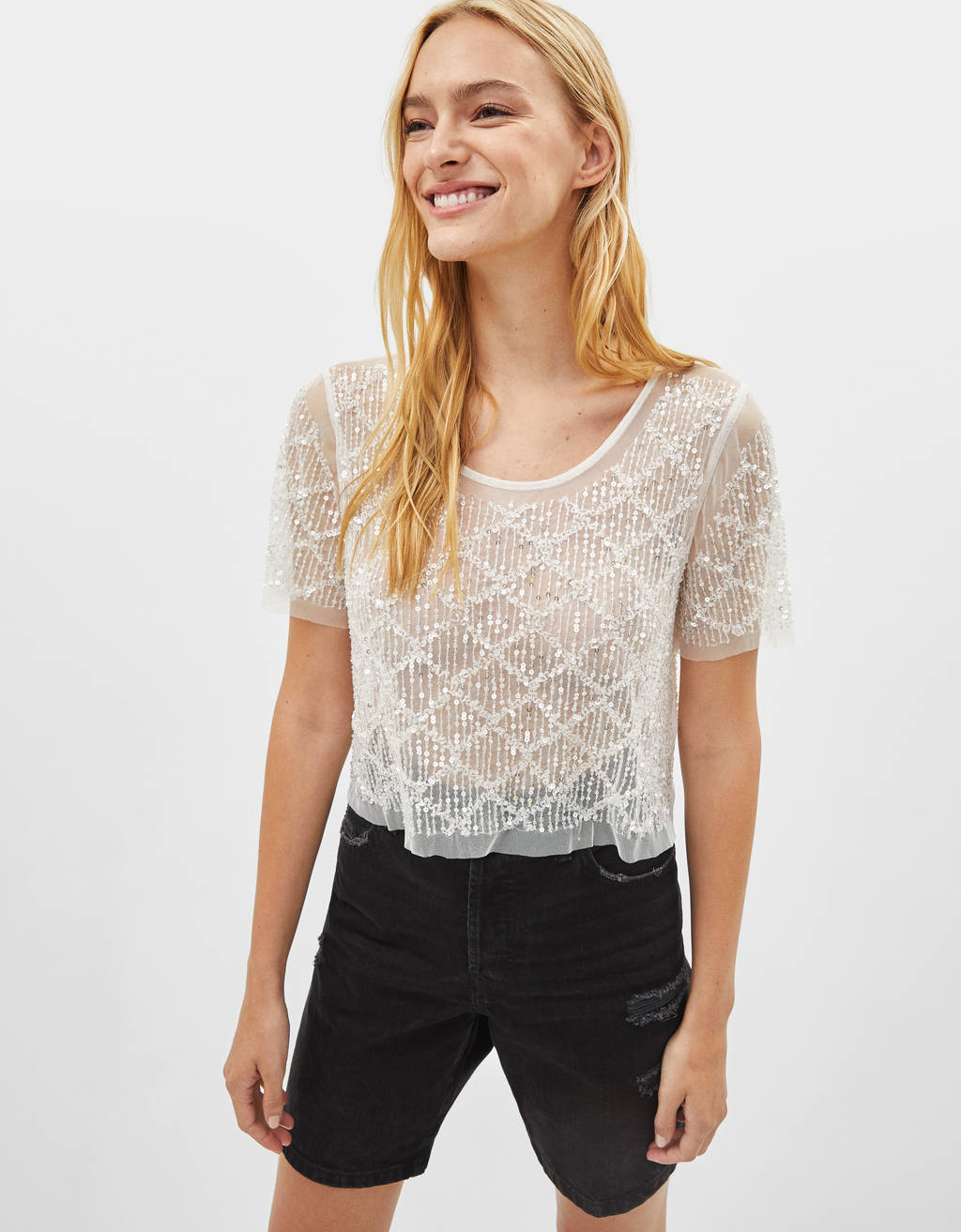 Cropped T-shirt with bejeweled detailing