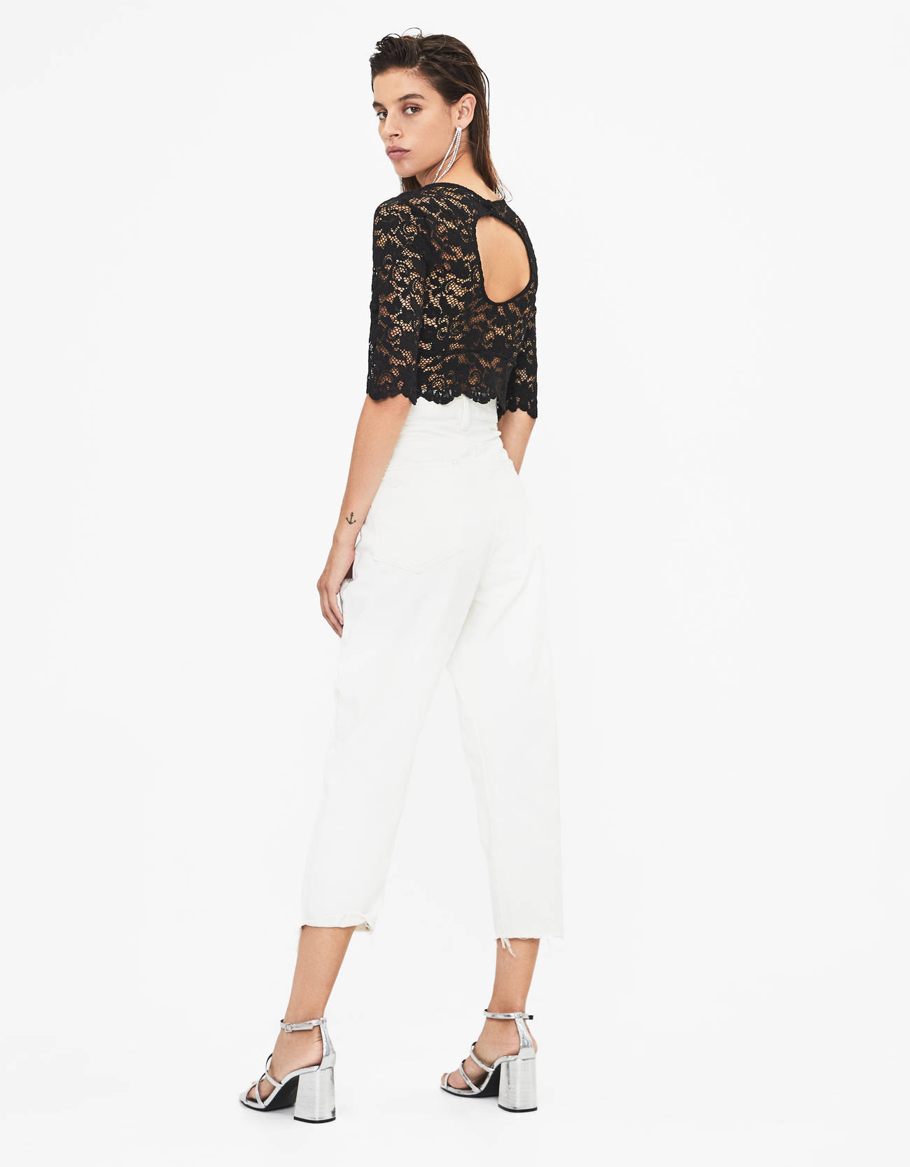 Кружевная блуза Черный Bershka