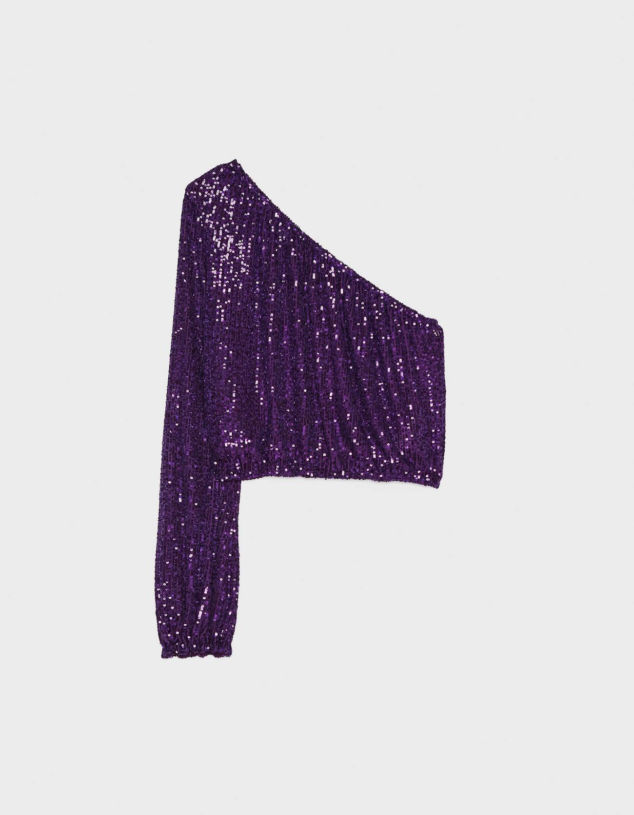 Топ асимметричного кроя с пайетками Фиолетовый Bershka