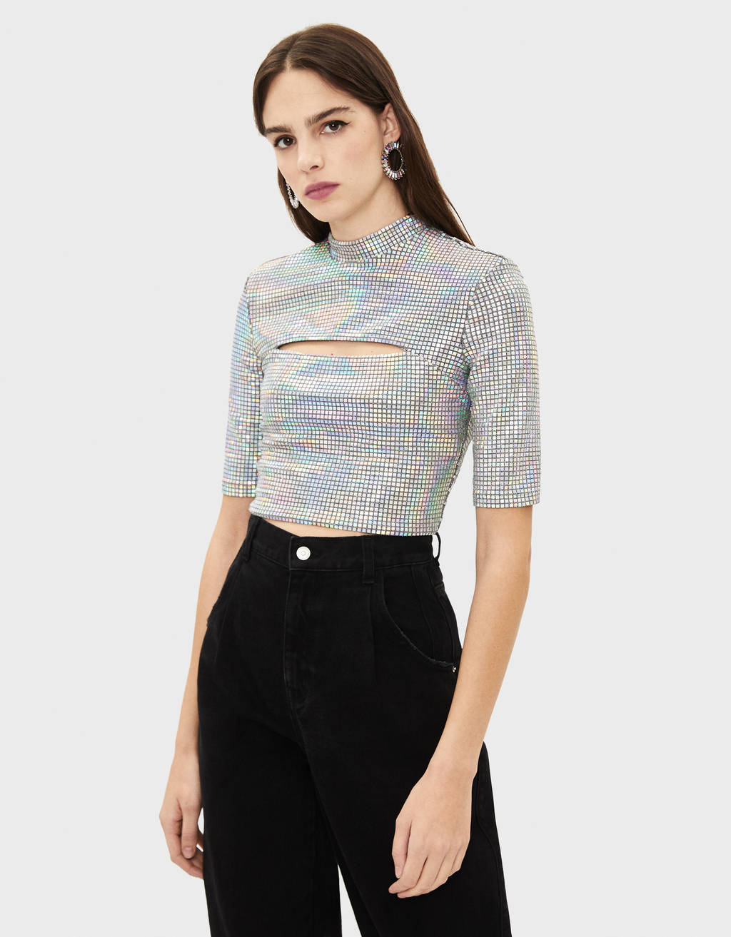 TIDAL x Bershka Top with mirrored sequins and a slit