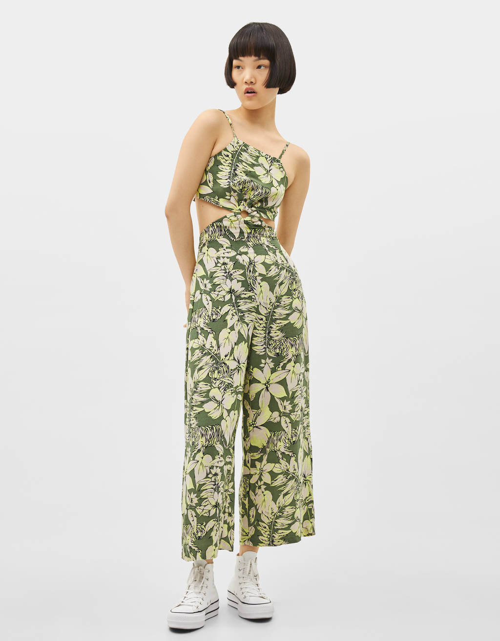Long tropical print jumpsuit