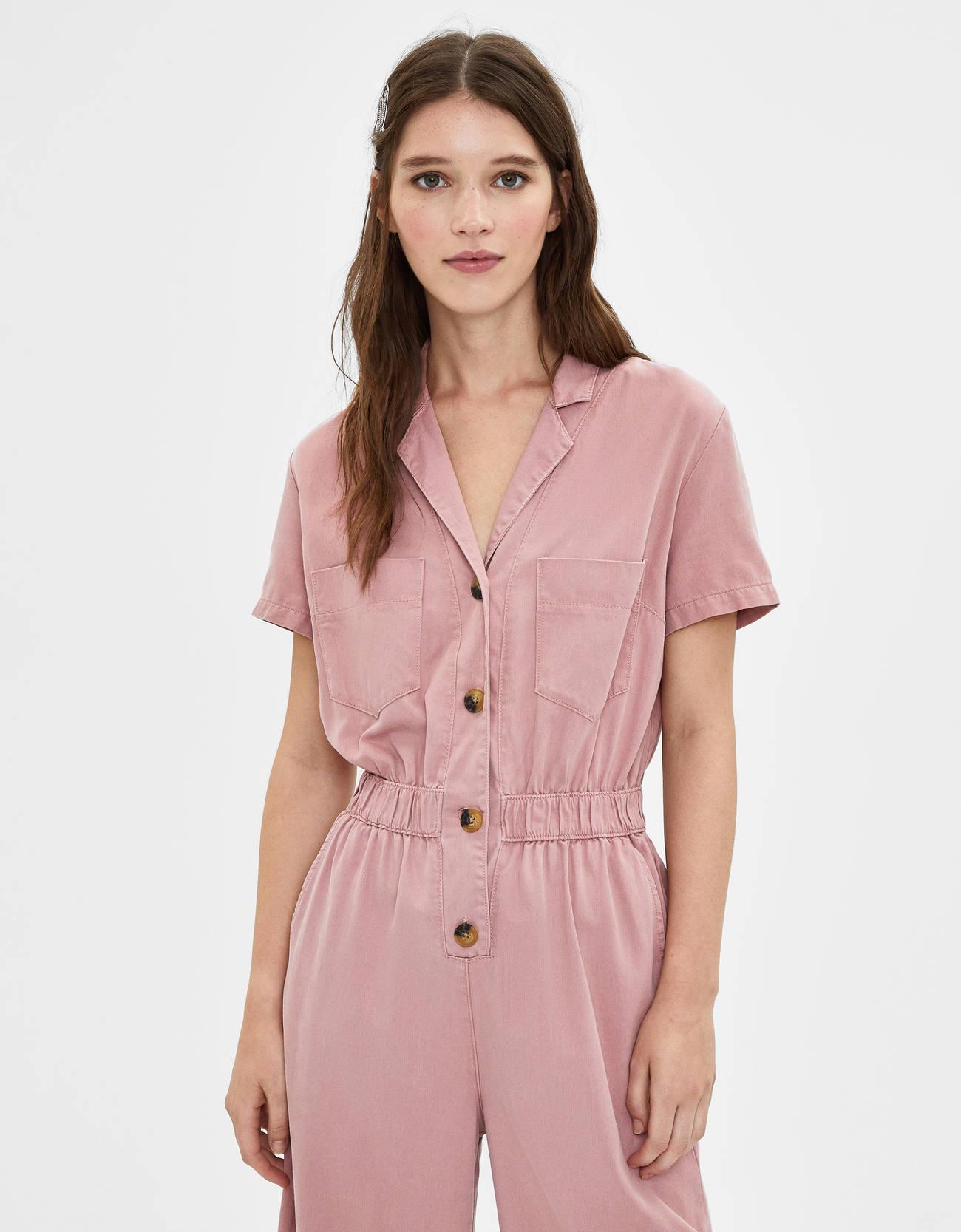 Длинный комбинезон из ткани ТЕНСЕЛ® Розовый Bershka