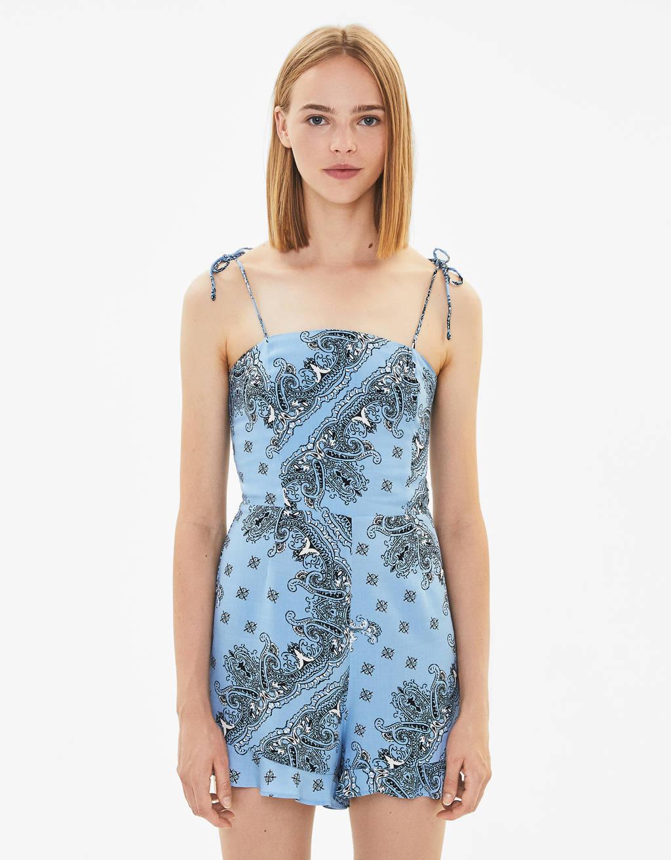 Short paisley print jumpsuit