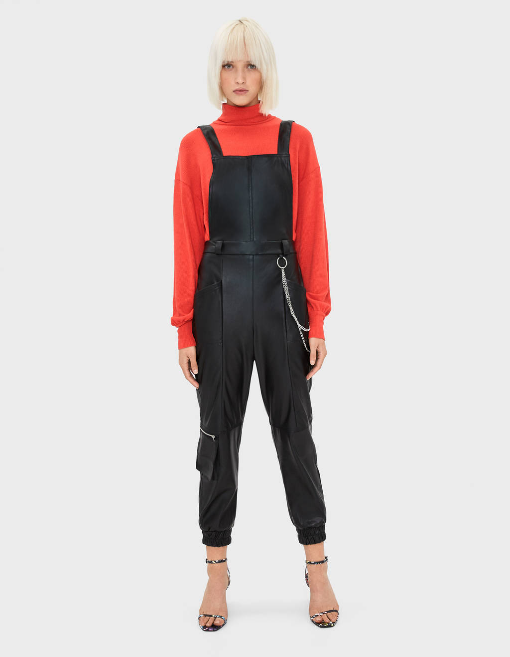 Faux leather utility dungarees