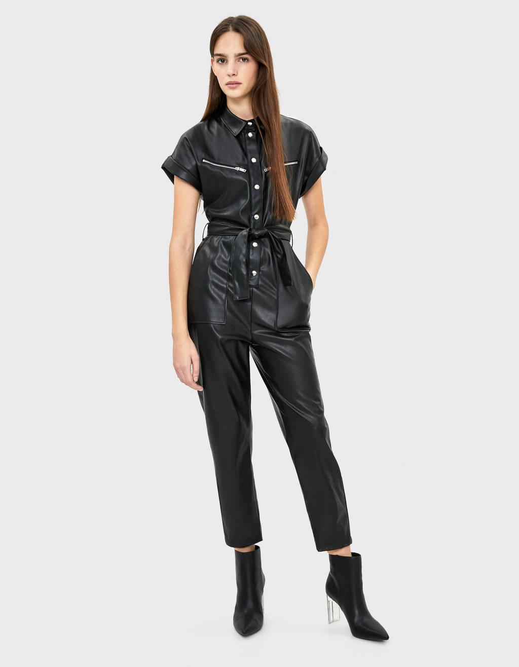 Faux leather utility jumpsuit