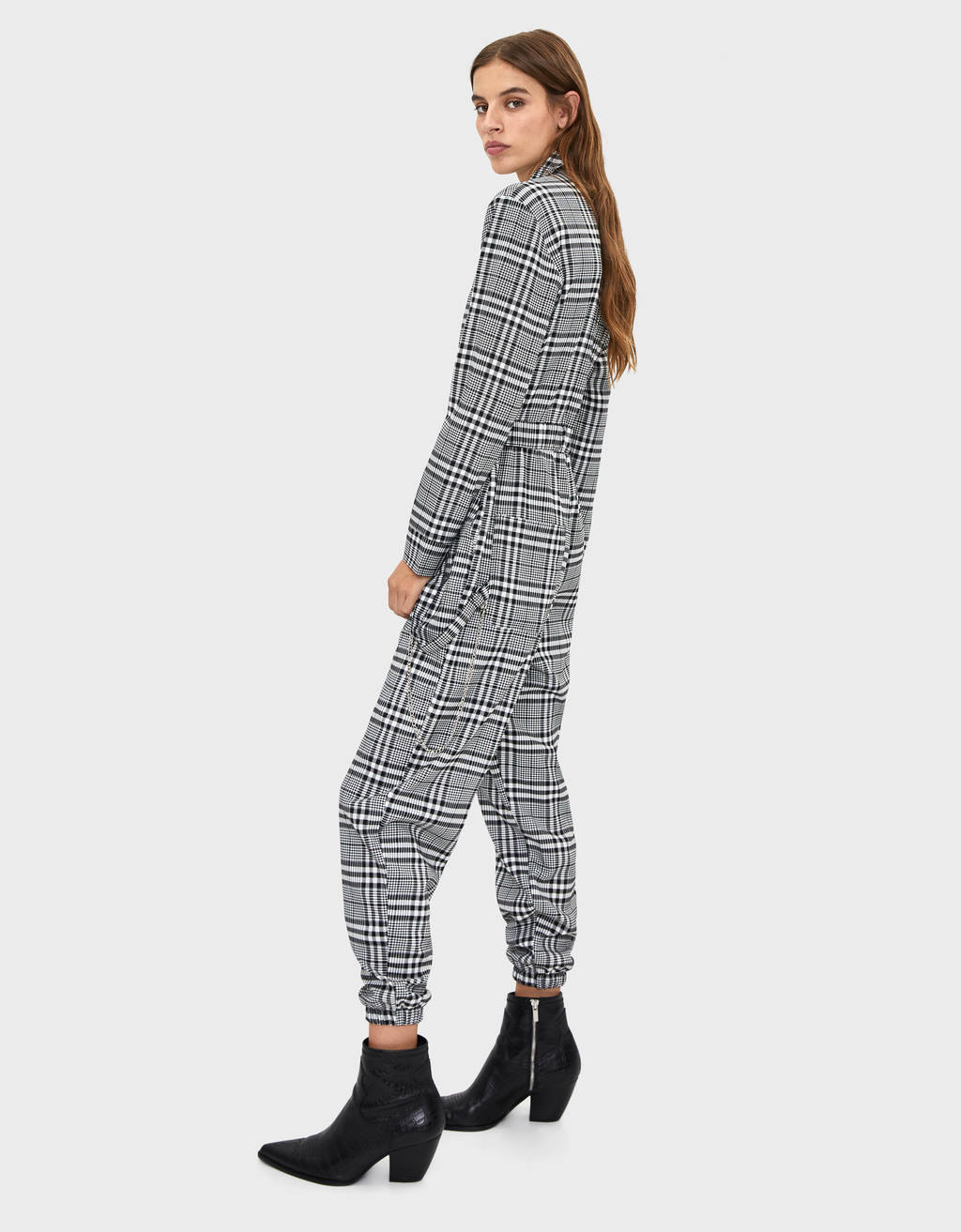 Long checked jumpsuit