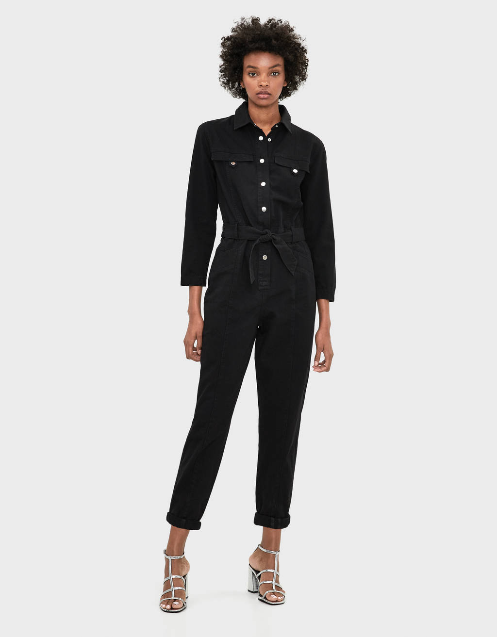 Langer Denim-Jumpsuit