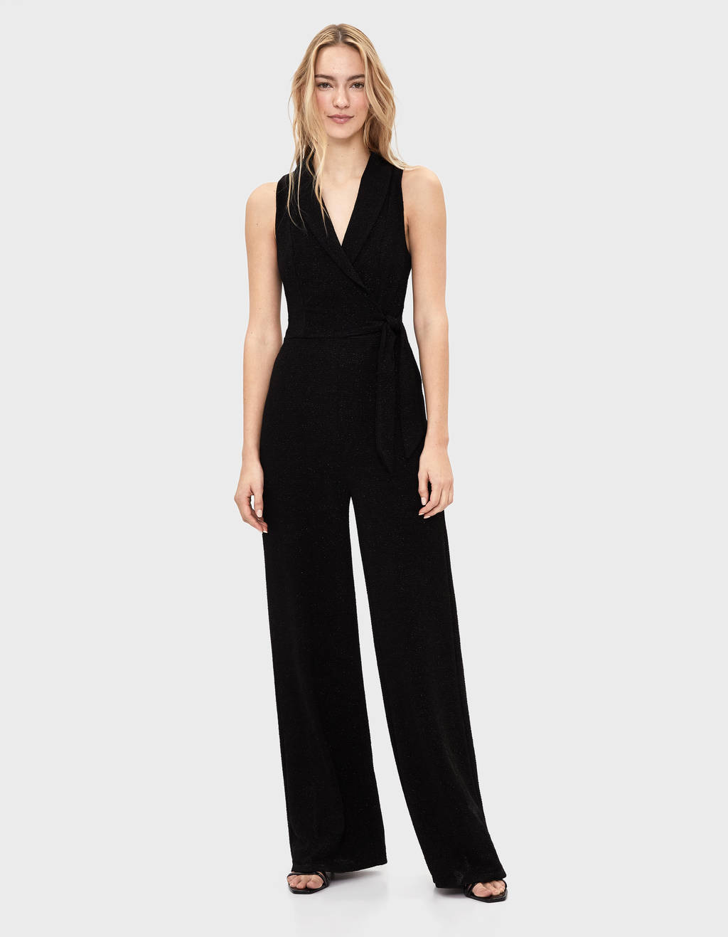 Jumpsuit with metallic thread