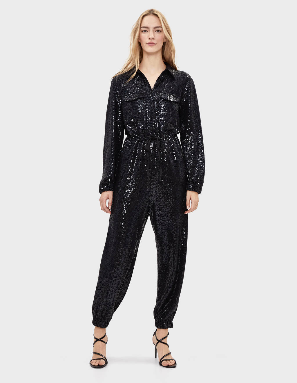 Cargo jumpsuit with mirrored sequins
