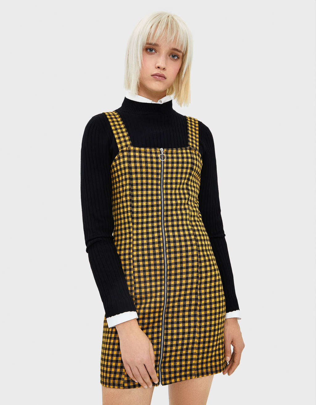 Check pinafore dress with zip