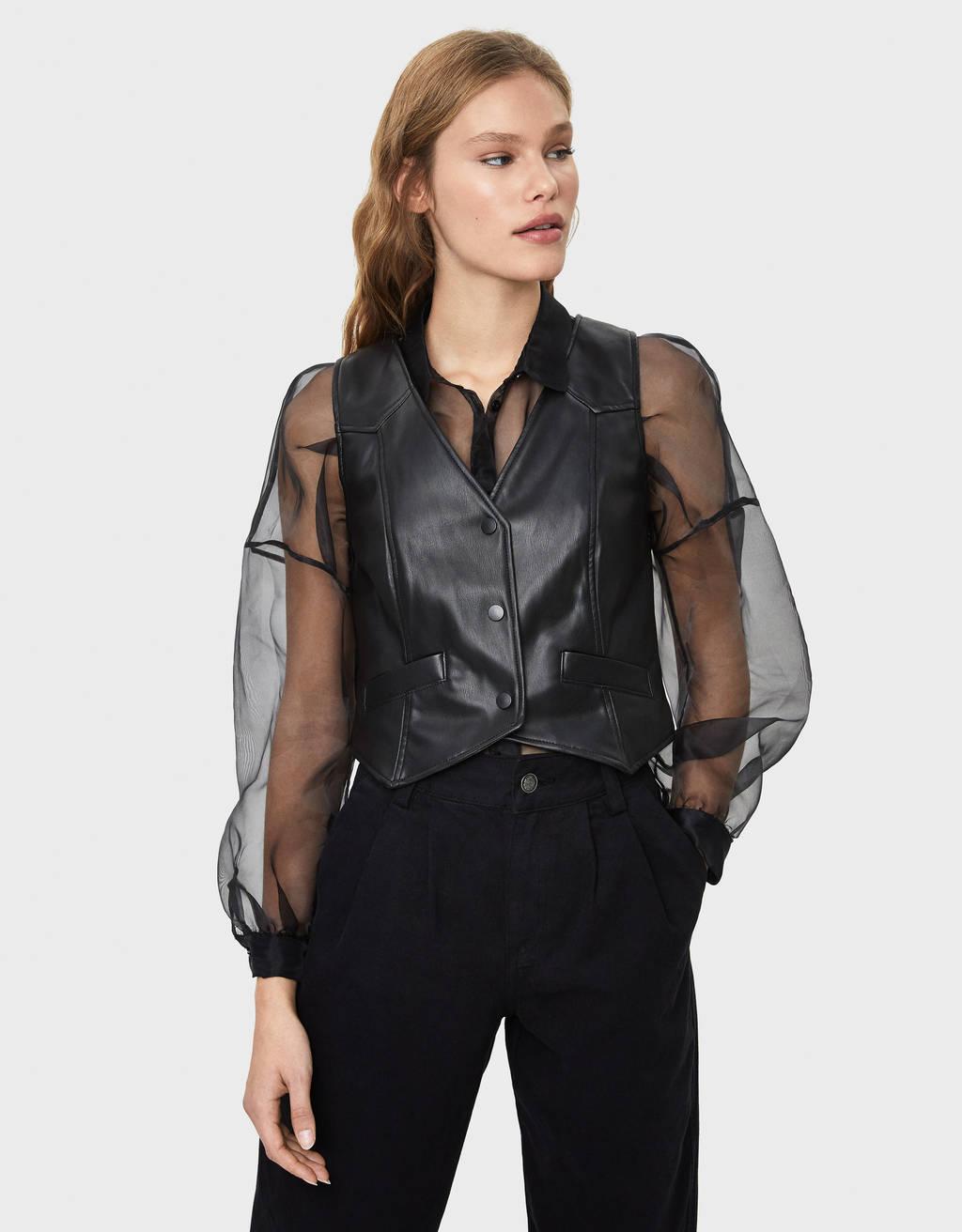 Faux leather waistcoat