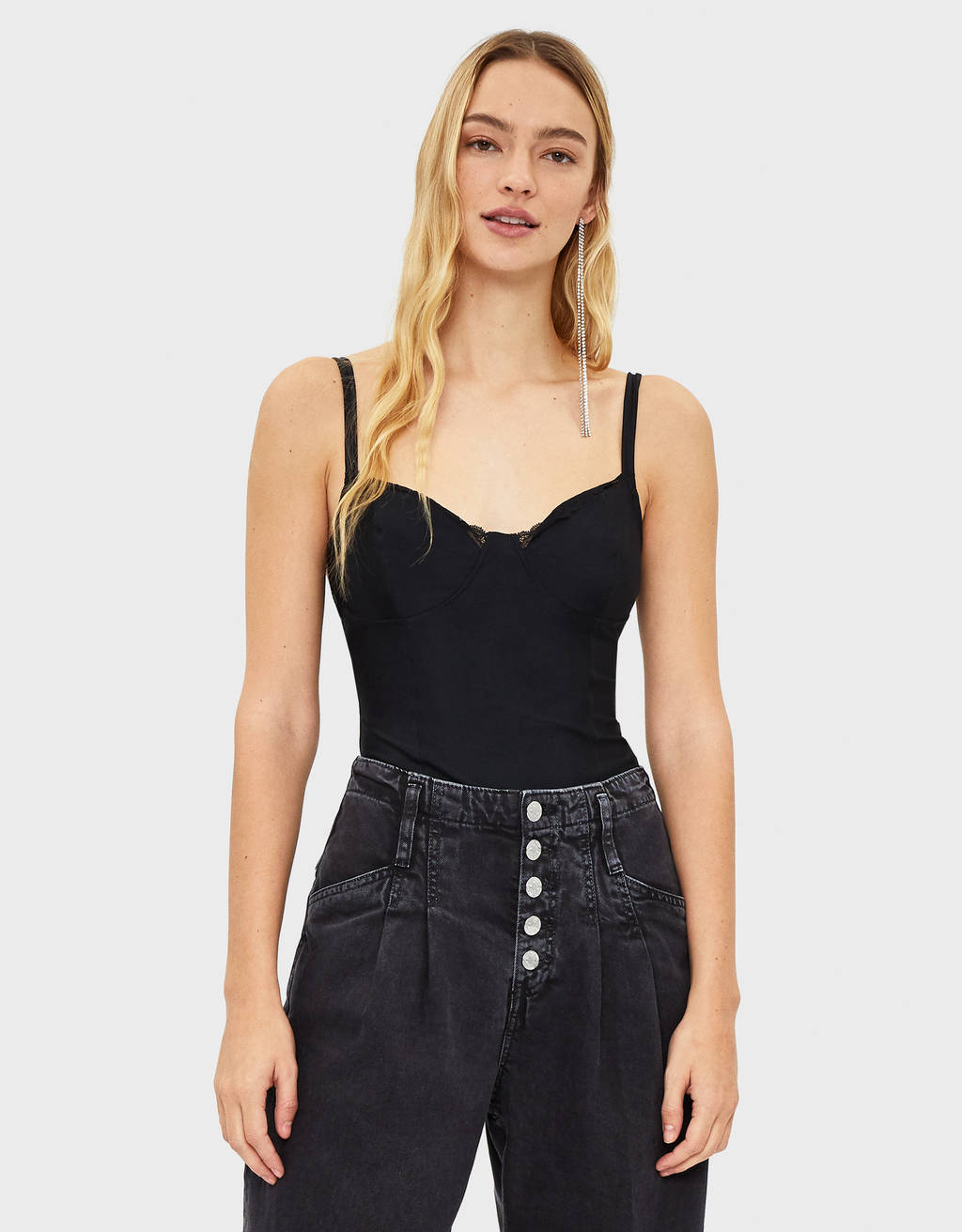 Lace-trimmed corset bodysuit