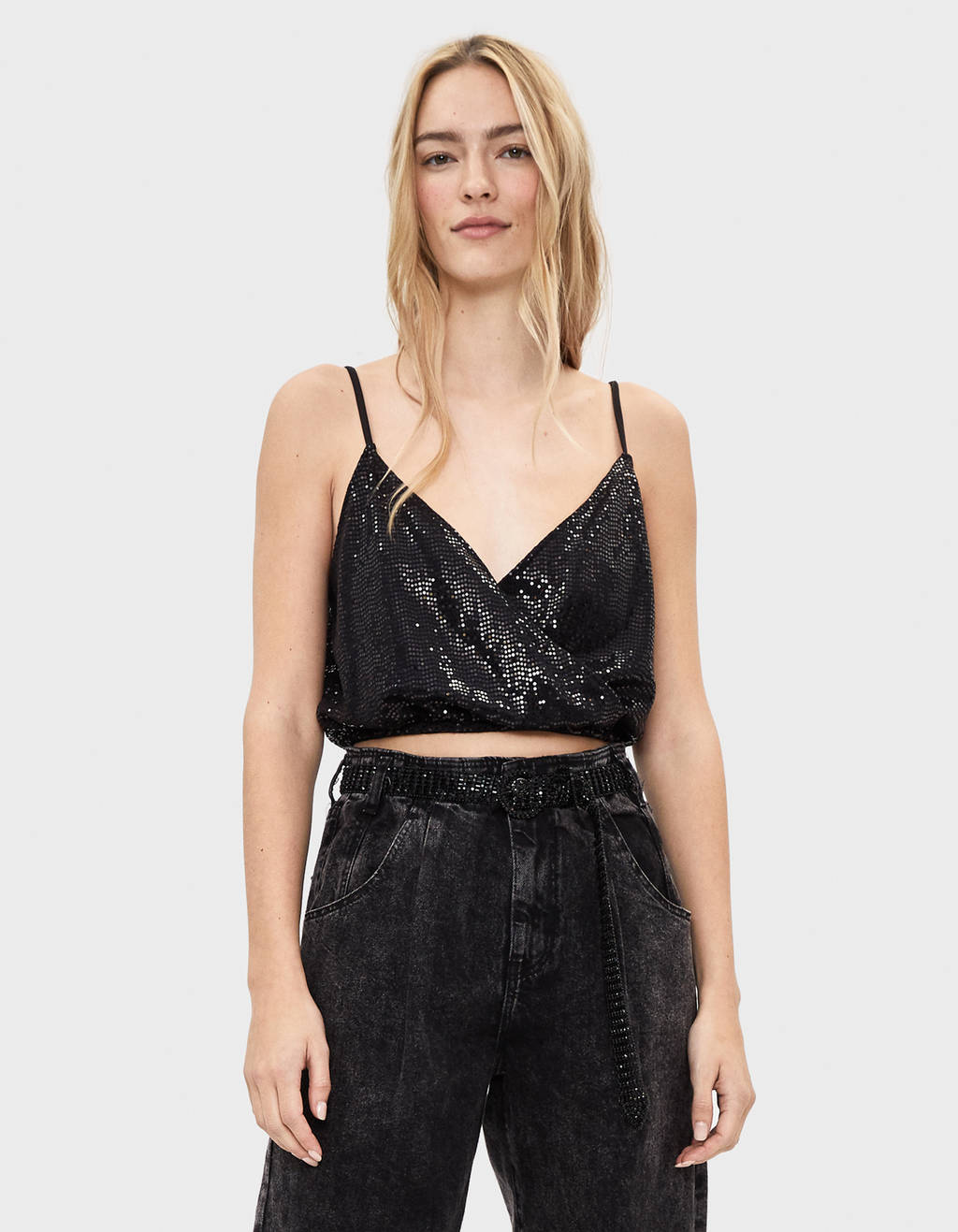 Shimmer surplice top