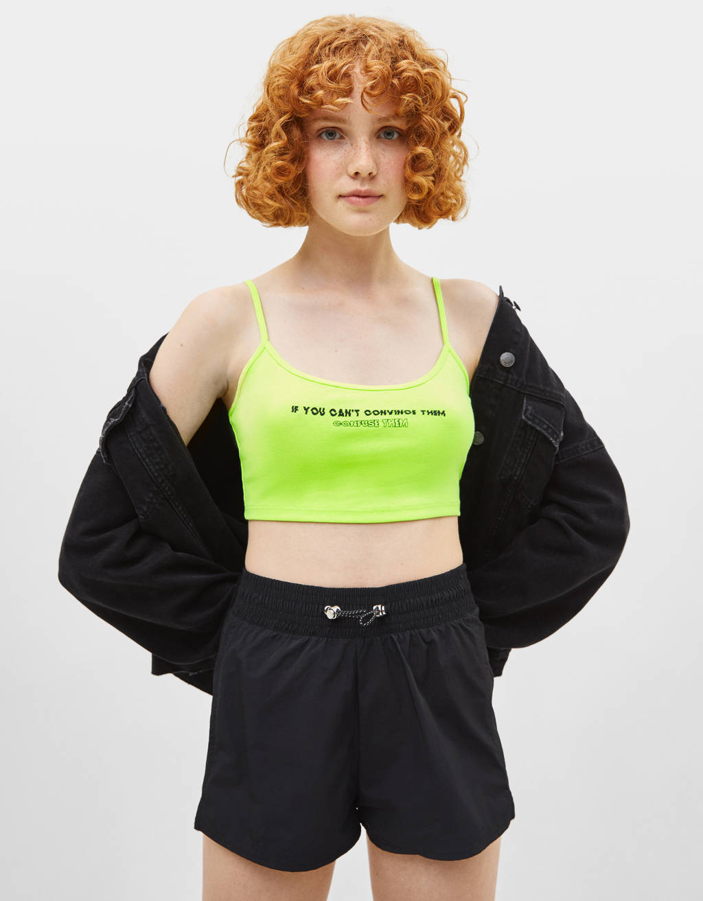 Strappy top with slogan print