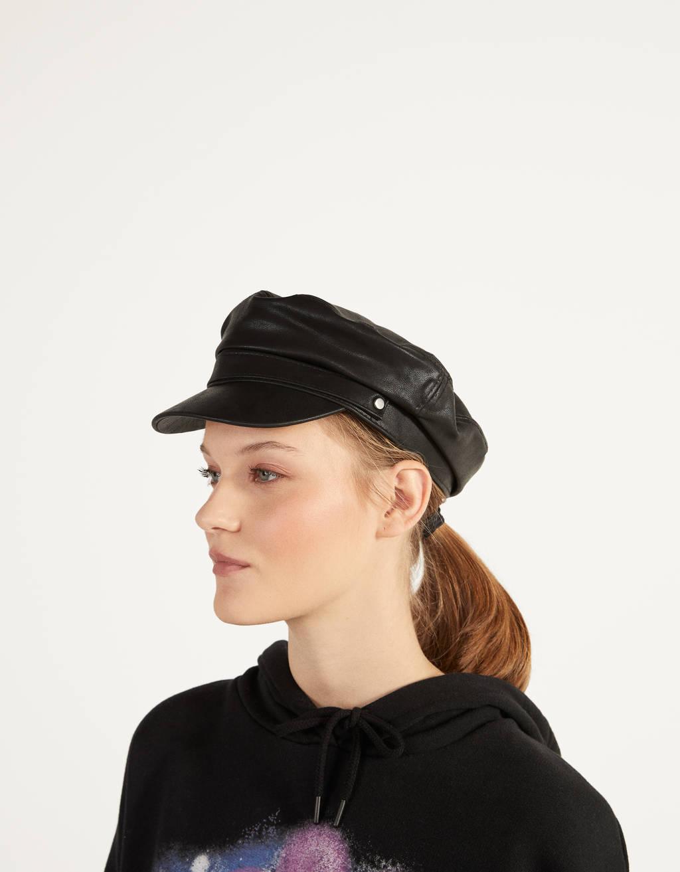 Faux leather beret