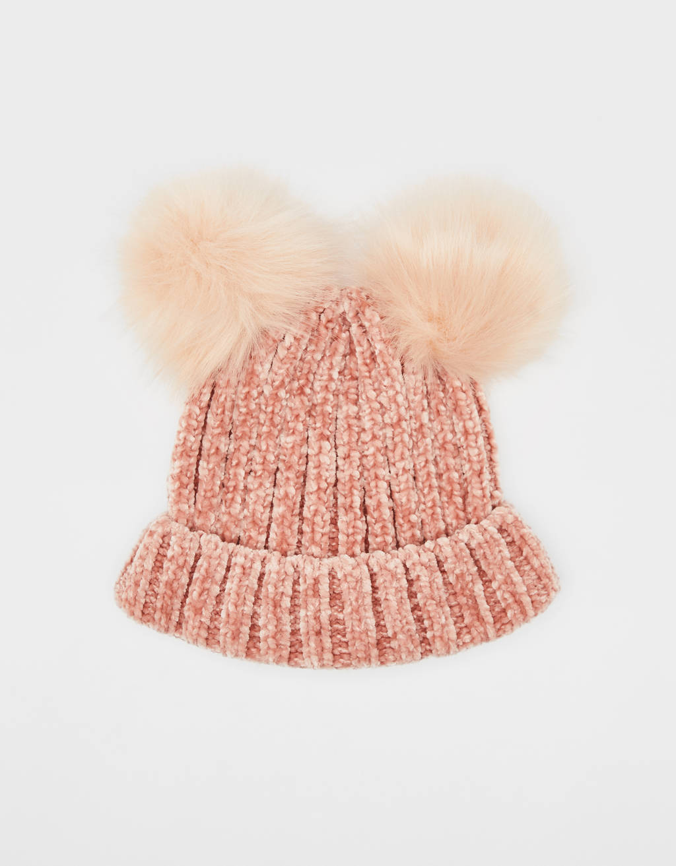 ポンポン付きシェニール編みビーニー帽
